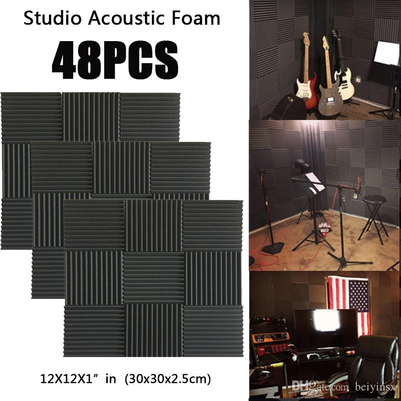 48PCS Music&Sound Wedge Acoustic Foam Studio sound absorption Tile Sound  Insulation Silencing Soundproofing Panels Fireproof 12X12X1 in