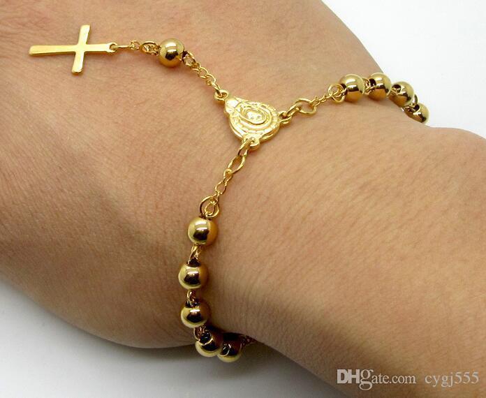 أوروبا والولايات المتحدة سوار الفولاذ المقاوم للصدأ الكرة يسوع الصليب قلادة الذهب مطلي الأزياء البرية التيتانيوم الصلب الخرز سوار jewelr