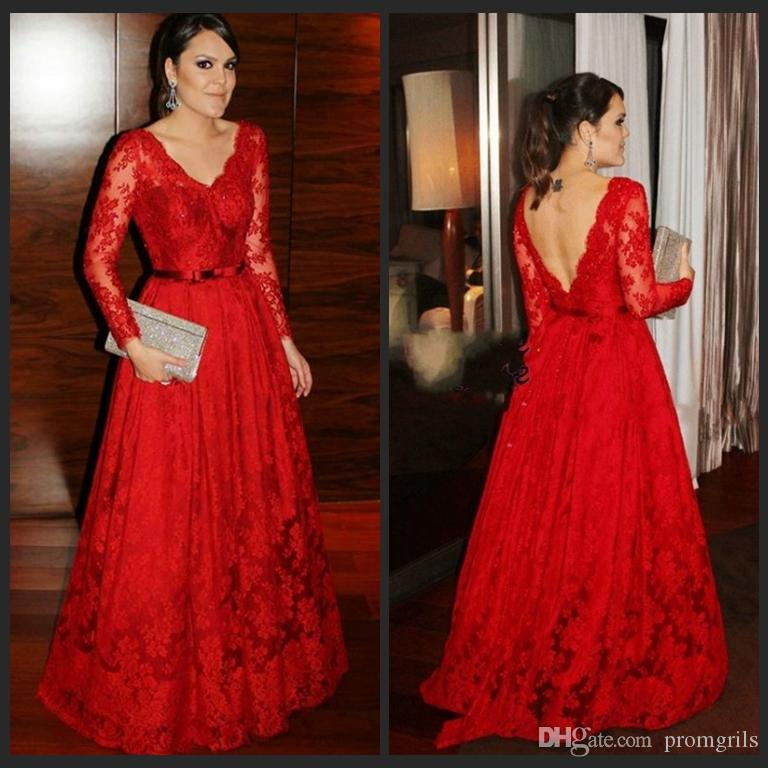 498a2d4903 2018 Latest Evening Gown Designs Long Sleeve Red Lace Evening Gowns Elegant  Party Dresses Lace Beaded Formal Party Prom Gowns Masquerade Prom Dresses  Maxi ...
