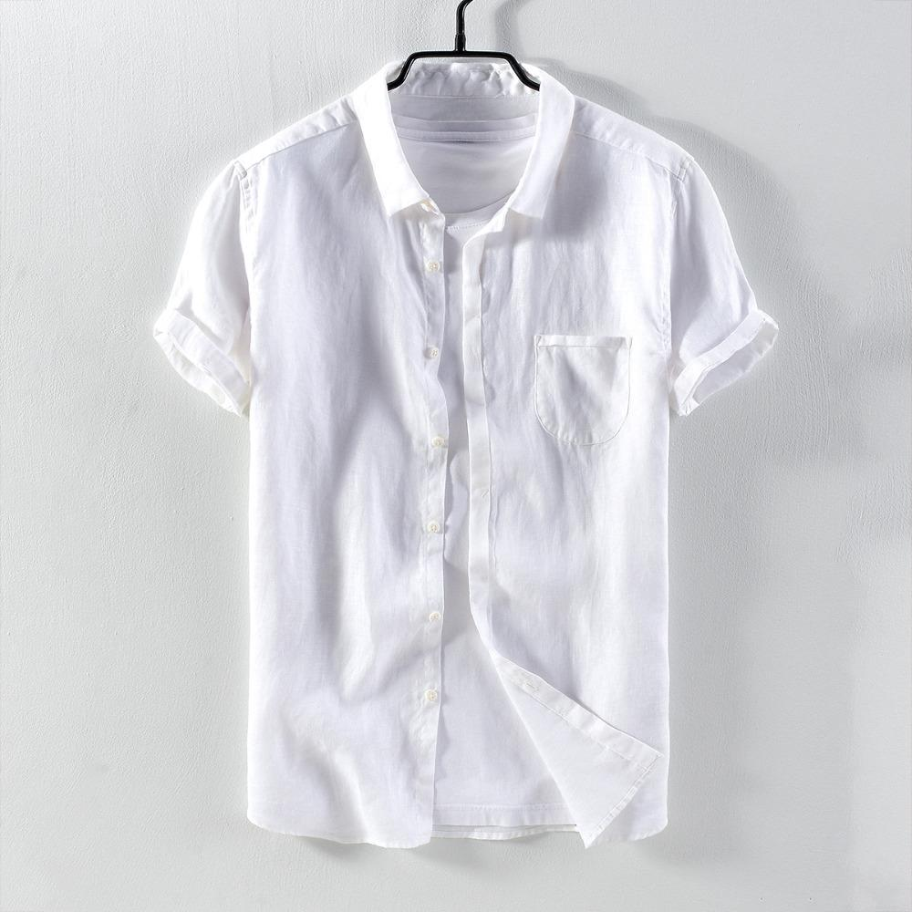 62a1d094 2019 2018 Pure Linen Men'S Simple Casual Short Sleeved Shirt Solid With  Pocket Flax Shirt Men Brand White Shirts Male Chemise Camisa From  Bellecome, ...