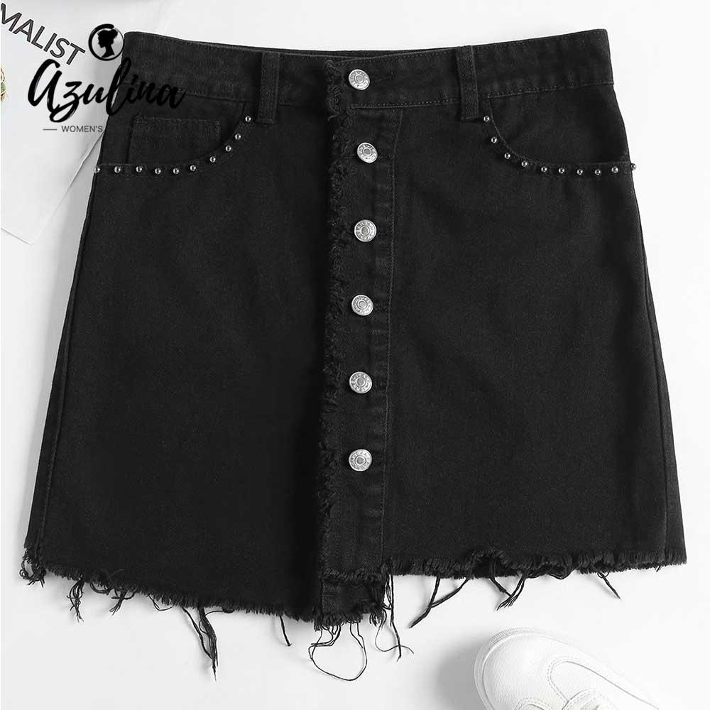 8f6c3e9f98d 2019 20187 AZULINA Buttons Up Jean Mini Skirt Women Summer Black A Line  Pencil Jeans Skirt High Waist Denim Skirts 2018 New Ladies Clothes From  Huang01