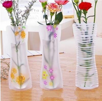 Creative Clear Pvc Plastic Vases Eco Friendly Foldable Folding
