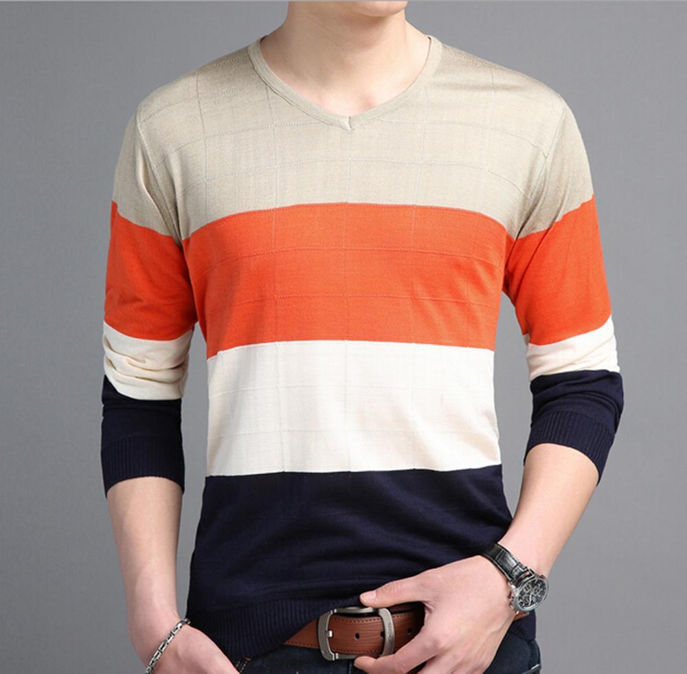 00ee0f63a Men S New 2018 Fashion Stylish Color Block V Neck Long Sleeve ...