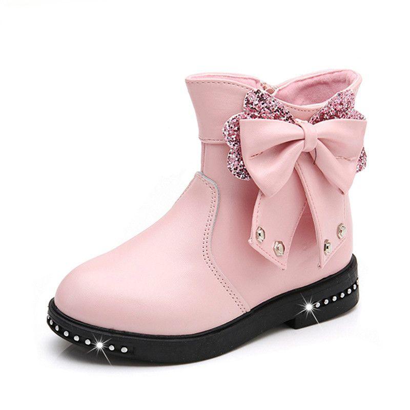 3ea26659881433 Acheter Filles Bottes Automne PU En Cuir Botte De Caoutchouc De Mode À Bout  Rond Zip Noeud Papillon Princesse Chaussures Enfants Enfants D'hiver En ...