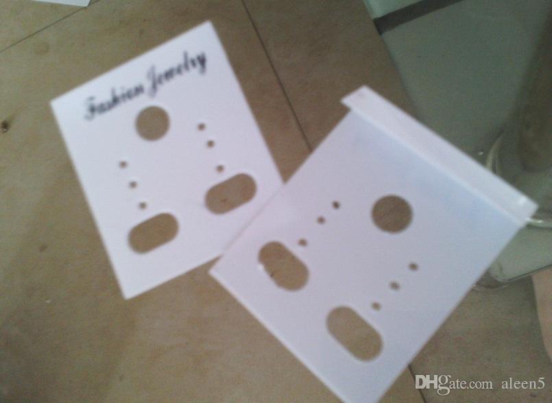 Оптовая продажа / 3.5*3 см белый пластик ПВХ мода ювелирные изделия Стад серьги дисплей упаковка карты висит теги можно настроить размер