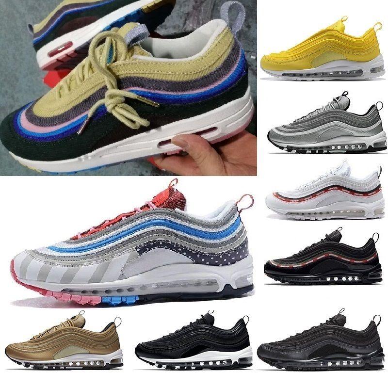 official photos e6356 458ba Acheter Nike Air Max 2018 97 Mens Shoes Womens Running Shoes Cushion OG  Silver Gold Sneakers Sport Athletic Men 97 Sports Outdoor Shoes Air SZ5.5  11 De ...