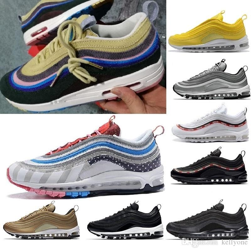 5472ef89eba62 Compre With Box Nike Air Max 2018 97 Mens Shoes Womens Running Shoes  Cushion OG Silver Gold Sneakers Sport Athletic Men 97 Sports Outdoor Shoes  Air SZ5.5 11 ...