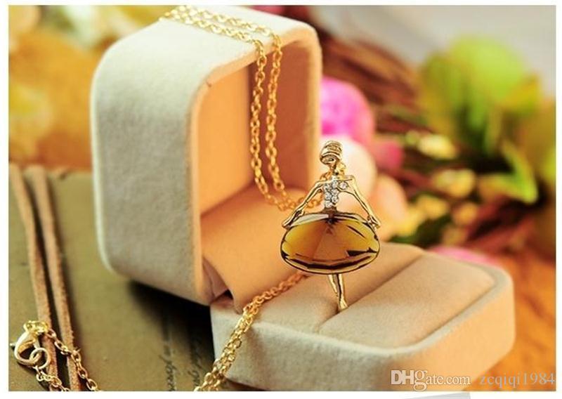 الكريستال قلادة neclaces الباليه راقصة فتاة قلادة طويلة البلوز قلادة الذهب اللون سلسلة معدنية قلادة مجوهرات فتاة هدية