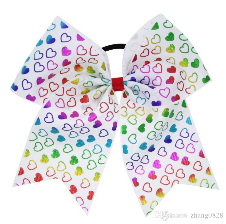 Top Selling Style 8 inch Plain Colored High Quality Grosgrain Ribbon Large Unicorn Cheerleading Bows with Elastic Bands