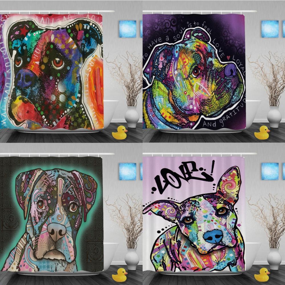 2018 Cute Dog Boxer Shower Curtain Lightness Animal Bathroom Curtains Custom Home Decor Waterproof Polyester From E