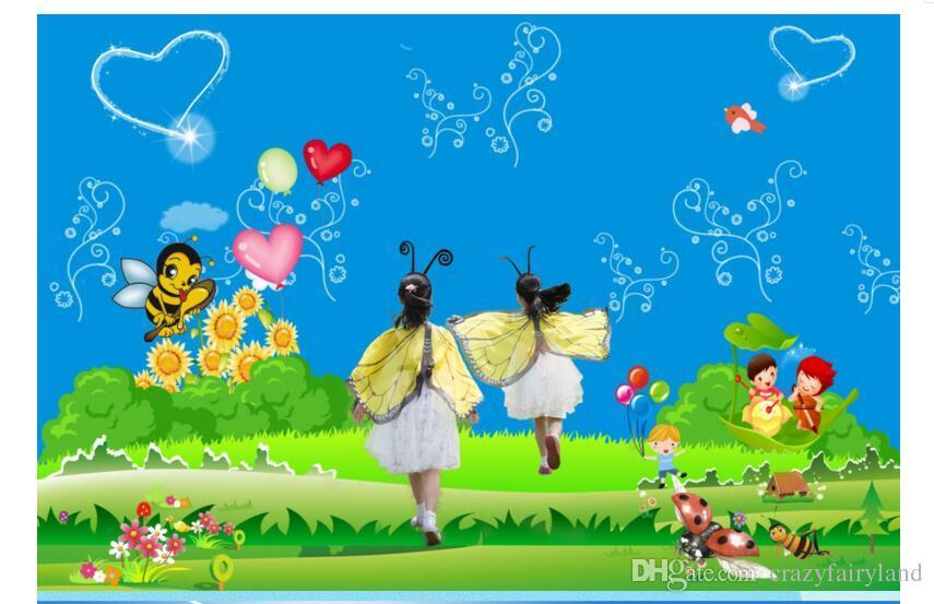 망토 코스프레 120 * 70cm 파티 마스크 Hairband 여자 나비 날개 어린이 의상 날개 사진 사진 의상 옷 입히기 선물