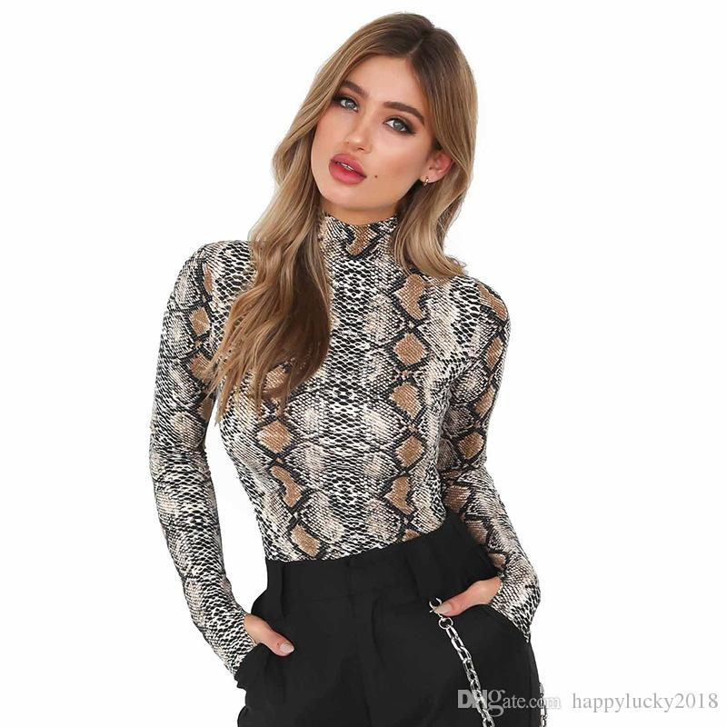 65260aed10d64d Women's T-Shirt Sexy Snakeskin Print Long sleeve Jumpsuits Turtleneck Slim  Fit Render clothing fashion brand fashion brand