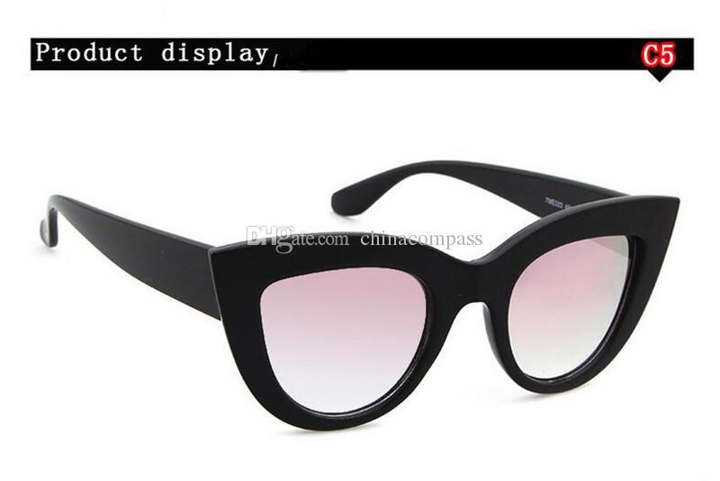 2018 New Retro Vintage Cat Eye Sunglasses for Women Plastic Frame Mirrored Lens Female Ladies Sunglass