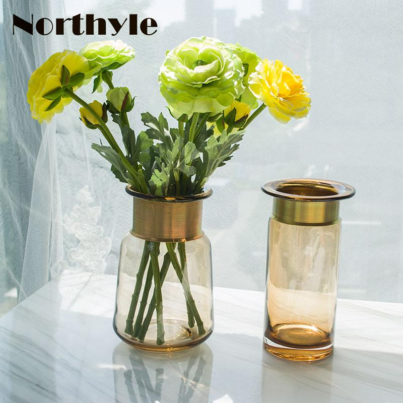 Golden Round Glass Vase Home Decoration Europe Style Floor Vase