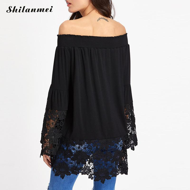 Women Blouse 2017 Sexy Slash Neck Off Shoulder Blouses Shirts Female Flare Sleeve Lace Splicing Casual Black White Summer Tops