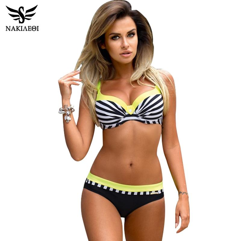 045145f7abf 2019 NAKIAEOI 2018 Sexy Push Up Bikini Women Swimsuit Plus Size Swimwear  Print Patchwork Bikini Set Bathing Suit Beach Wear Swimming From Ppkk