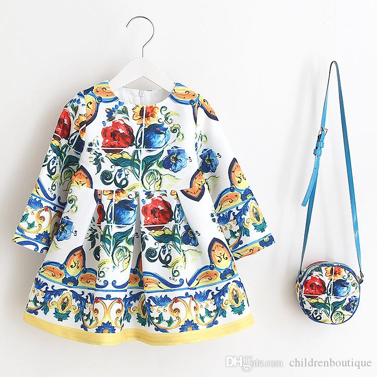 Kids Clothes Baby Dress 2018 Summer Cartoon Printing Beach Dress With Matching Round Shoulder Bags Sets Girls Princess Clothing Purses