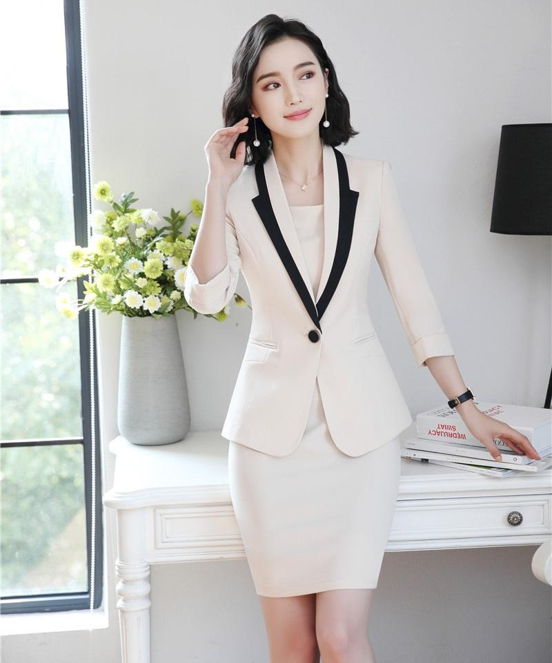 31a9bb57a5b3 2019 Fashion Ladies Dress Suits For Women Business Suits White Blazer And  Jacket Sets Work Wear Office Uniform Styles From Ppkk