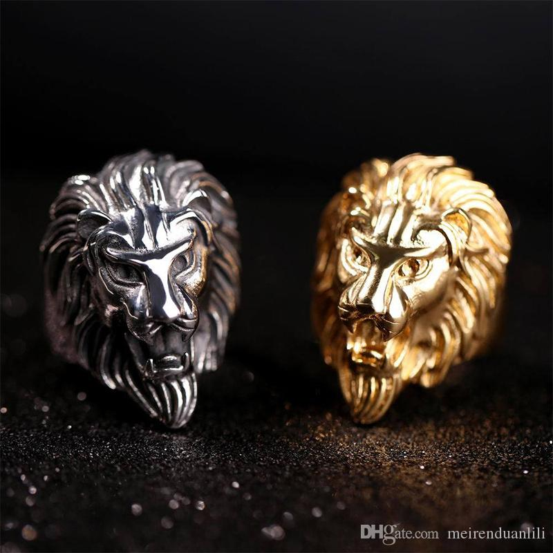 Fashion Lion Band Ring Gold Steel Color Mens Rings 316L Stainless Steel Jewelry For Mens Jewelry Wedding Love Ring Anillos for Cool Men