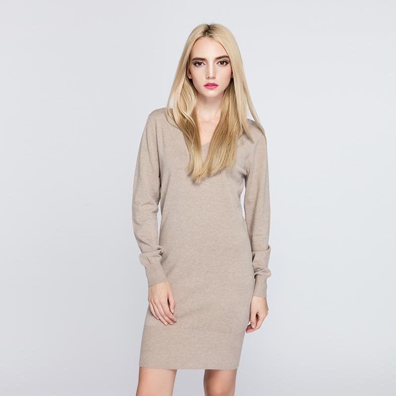 76922335d6c Women S V Neck Long Knitted Sweater Dress Casual Full Sleeves Female Loose  Pullovers Fashion Simple Styles 2018 New Autumn Dress Floral Cocktail  Dresses ...