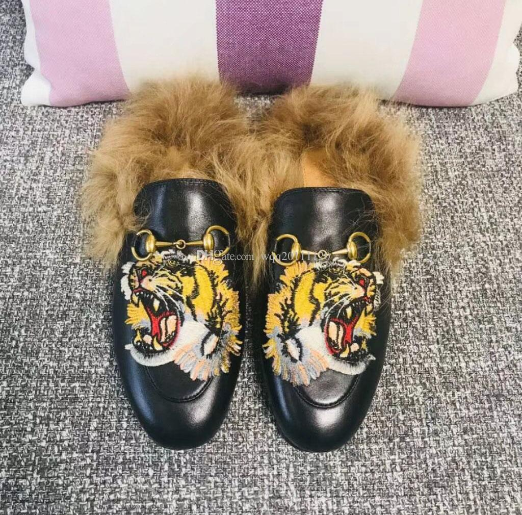 a6f400ce3 Lead cat, Rihanna fur, tiger head slippers, ladies' shoes, sandals, fashion  cuffs, black slides, high quality boxes, size 35-41.