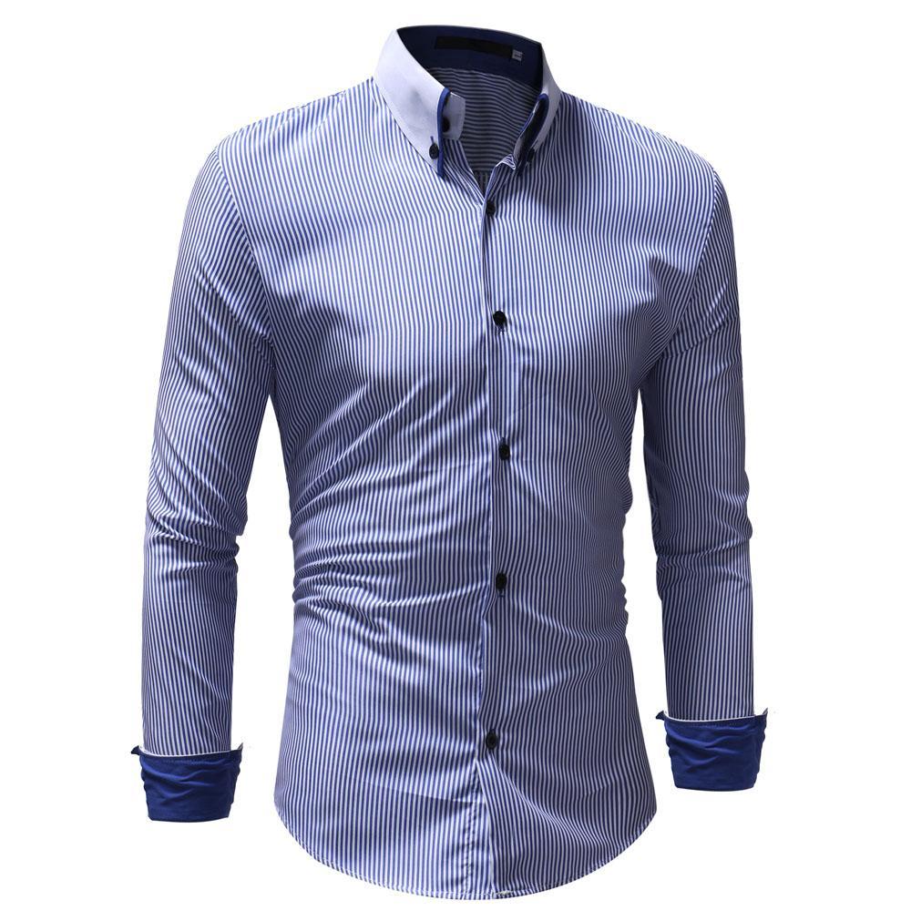 2019 Dress Shirt 2018 Fashion Striped Mens Shirts Classic Stripe