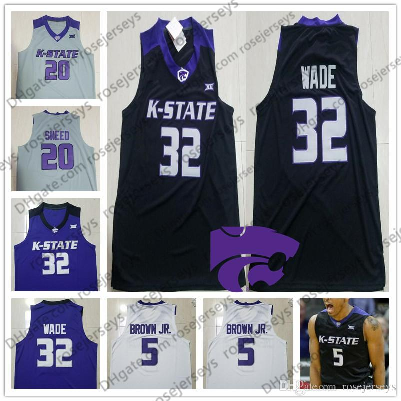 92bdd6b183c 2019 Custom Kansas State Wildcats College Basketball White Purple Black  Stitched Any Name Number #32 Dean Wade 5 Barry Brown Jr. Jerseys S 4XL From  ...