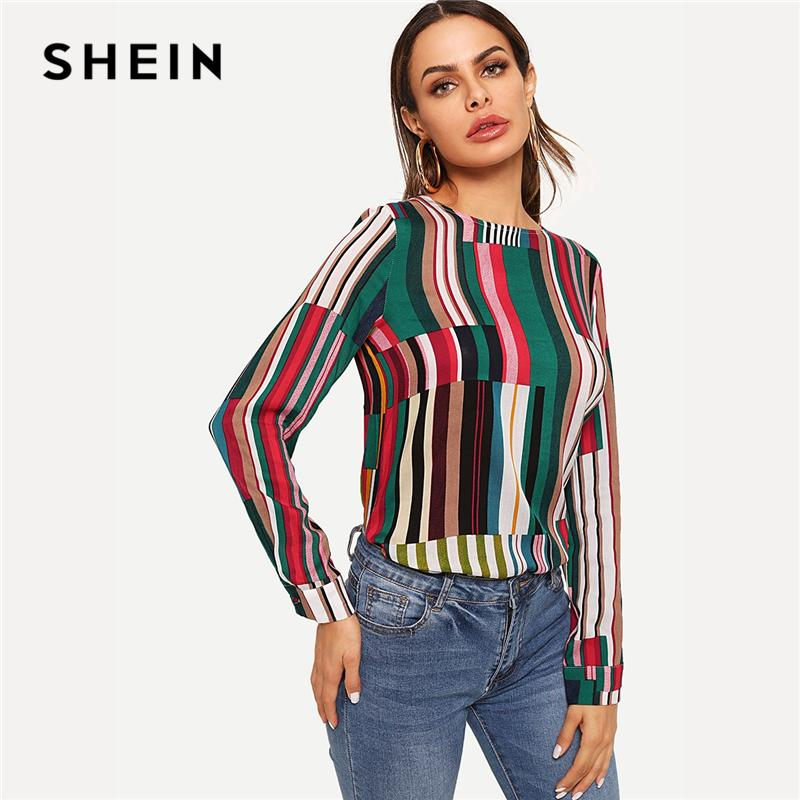 193ad97d50e317 2019 SHEIN Multicolor Casual Keyhole Back Mixed Striped Round Neck Long  Sleeve Blouse Autumn Office Lady Women Tops And Blouses From Dalivid, ...