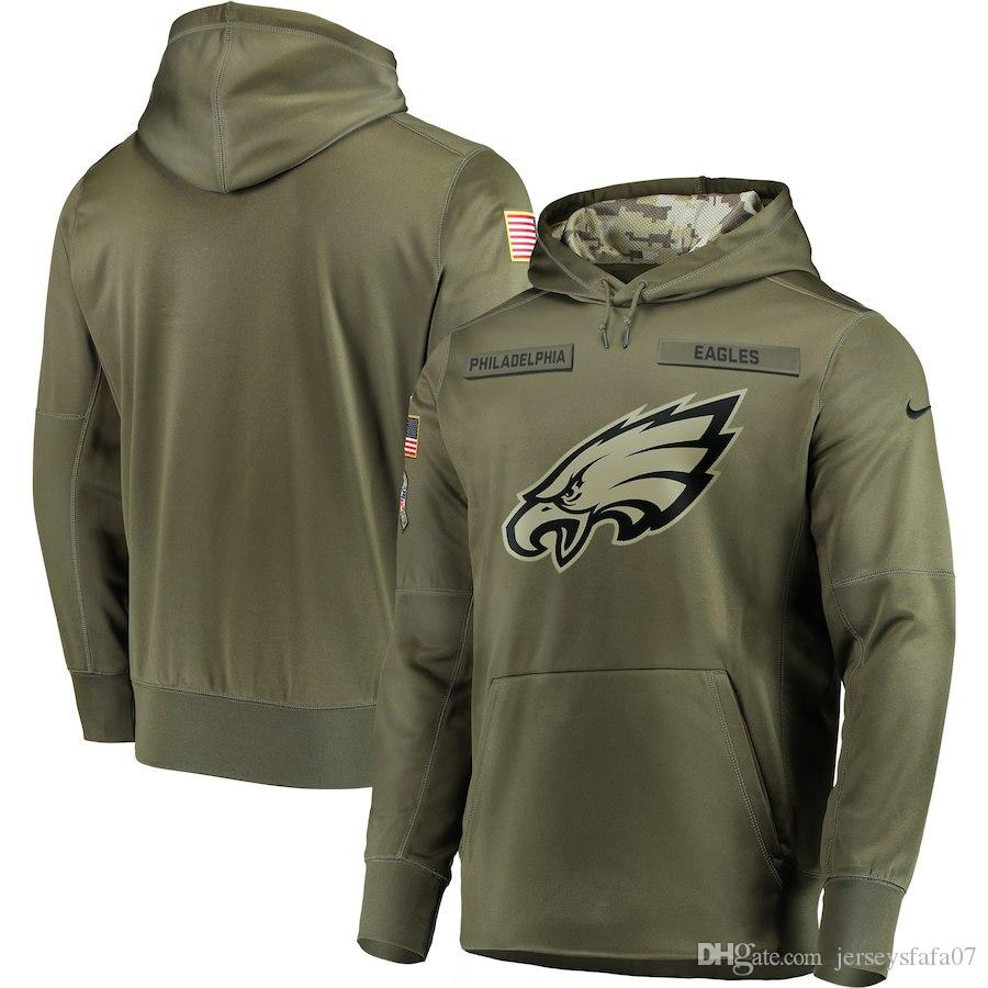 b648b3af6 2018 Men Philadelphia Sweatshirt Eagles Salute To Service Sideline Therma  Performance Pullover Hoodie Olive UK 2019 From Hottopjerseythree