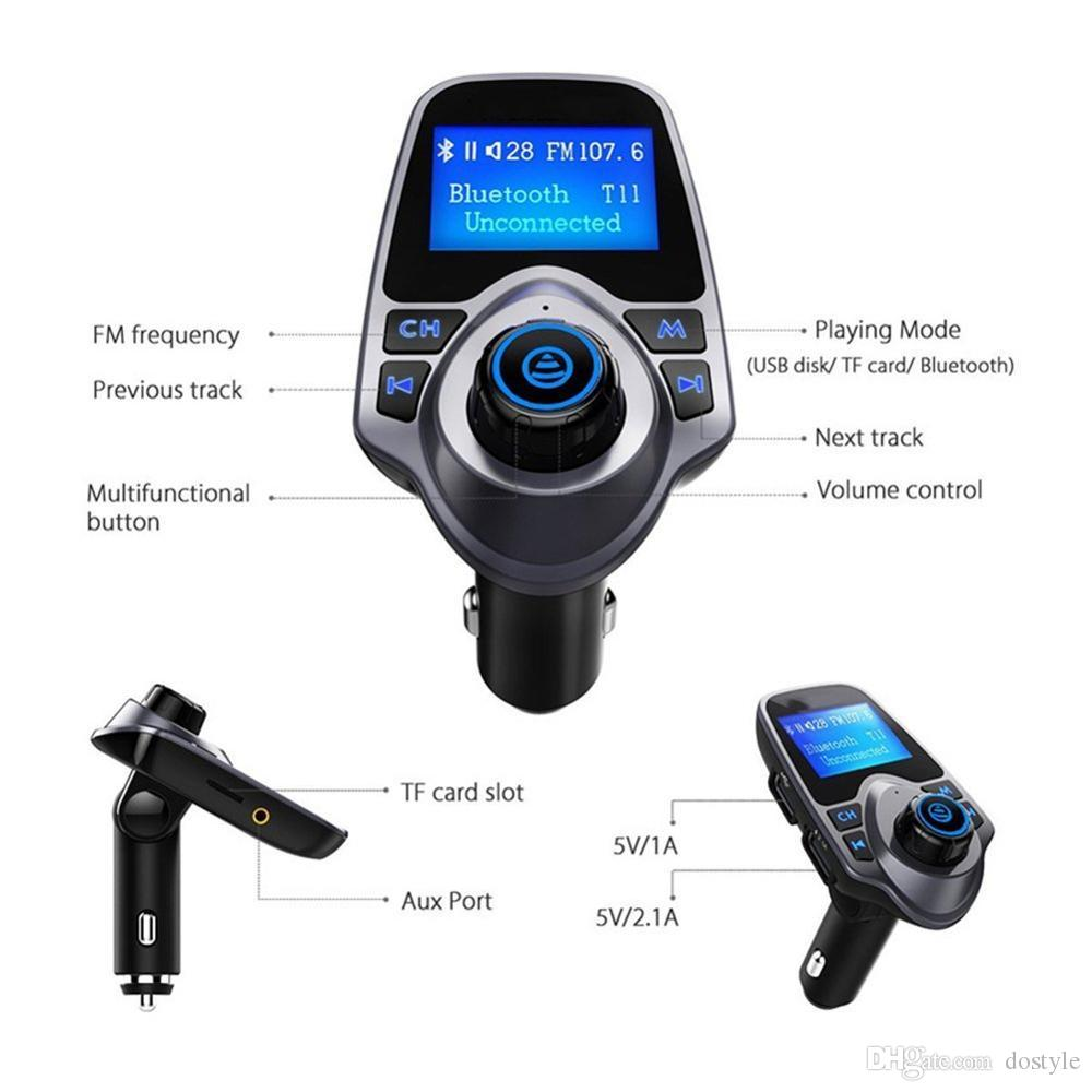 FM Transmitter Wireless Bluetooth Car audio Kit FM MP3 Receiver 1.44'' Display Car Charger MP3 Player Read Micro SD USB Flash Drive