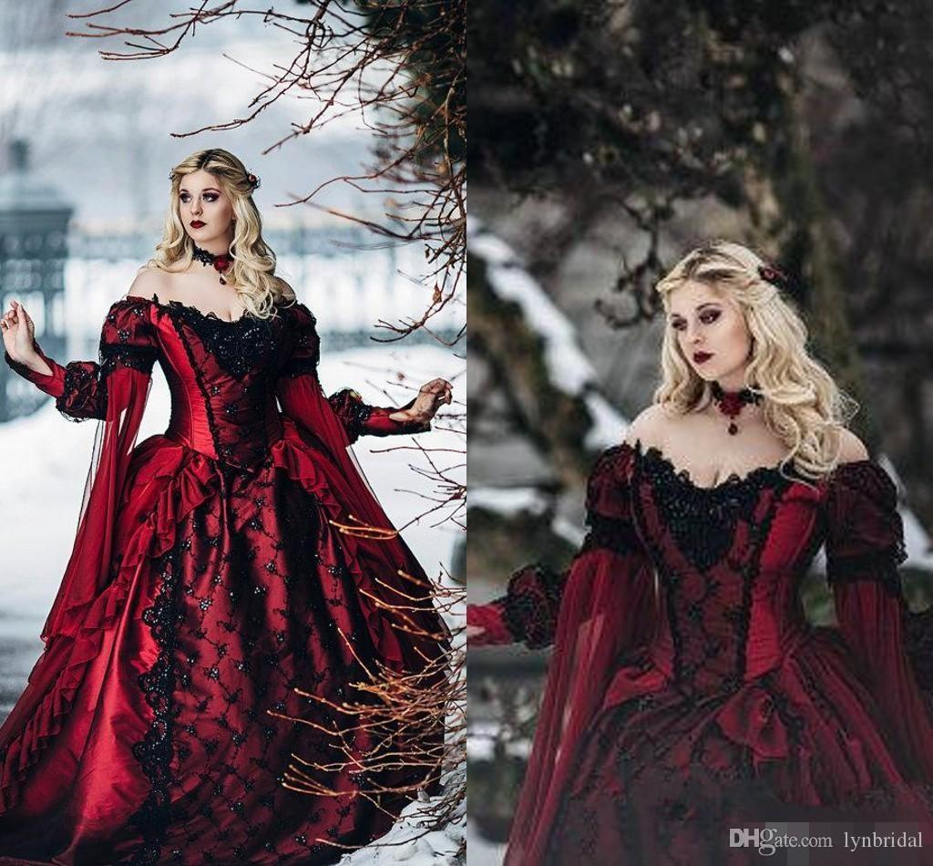 Discount Fantasy Fairy Medieval Gothic Wedding Dresses: Discount Gothic Sleeping Beauty Princess Medieval Red And