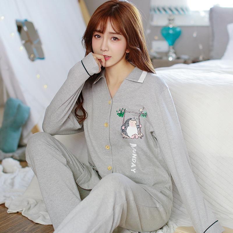 9469137d08b5 2019 Womens Pajamas Sets Long Sleeve Suit Animal Cartoon Large Size ...