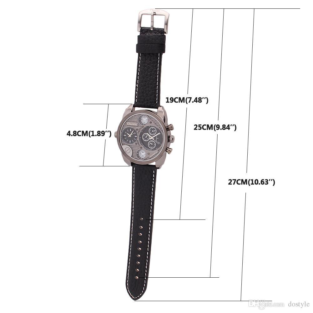 Venta al por mayor de lujo OULM Dual 2 Zonas horarias Reloj analógico de cuarzo Militar Hombres Deporte Relojes de pulsera Dial redondo reloj de pulsera de cuero negro Al aire libre