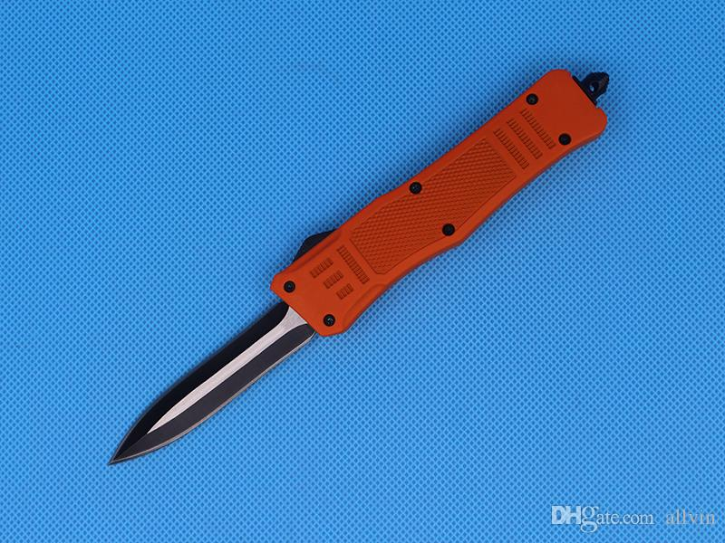 Allvin Red 8.2 Inch Medium 616 Auto Tactical Knife 440C Double Edge Fine Black Blade EDC Pocket Knives Survival Gear