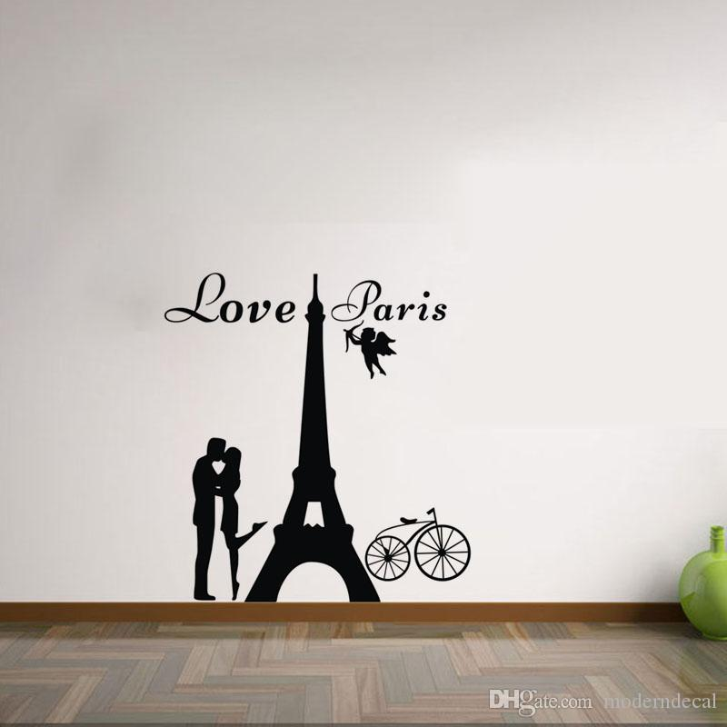 Acquista Love Paris Wall Stickers Camera Da Letto Decorazione Amanti ...