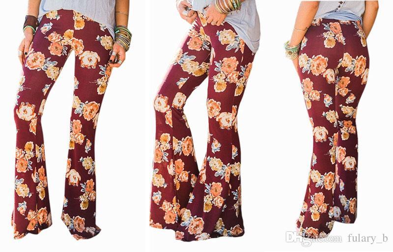 여름 새로운 여성 패션 높은 허리 Bootcut 바지 Boho 빈티지 캐주얼 바지 스키니 플러스 크기 와이드 레그 바지의 레깅스