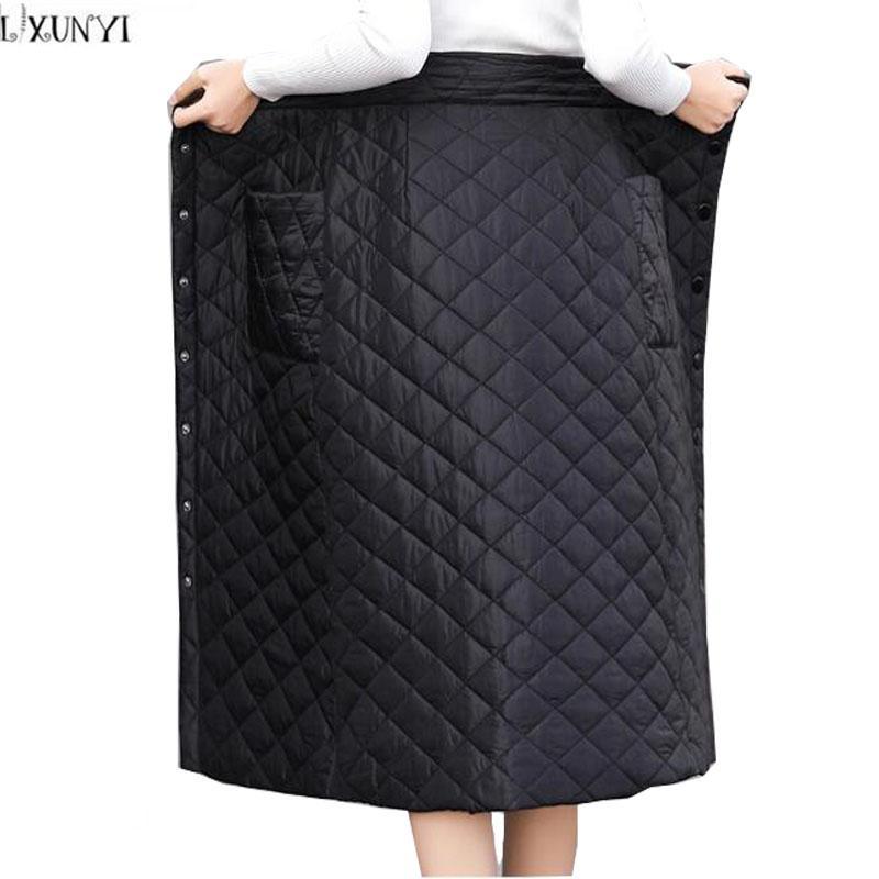bd5542c06d10e8 LXUNYI Down Cotton Jupe Femmes Hiver Plus La Taille Bouton Poche Slim Wrap  Jupe Long Épais Chaud Taille Haute Femme Jupes Élégant