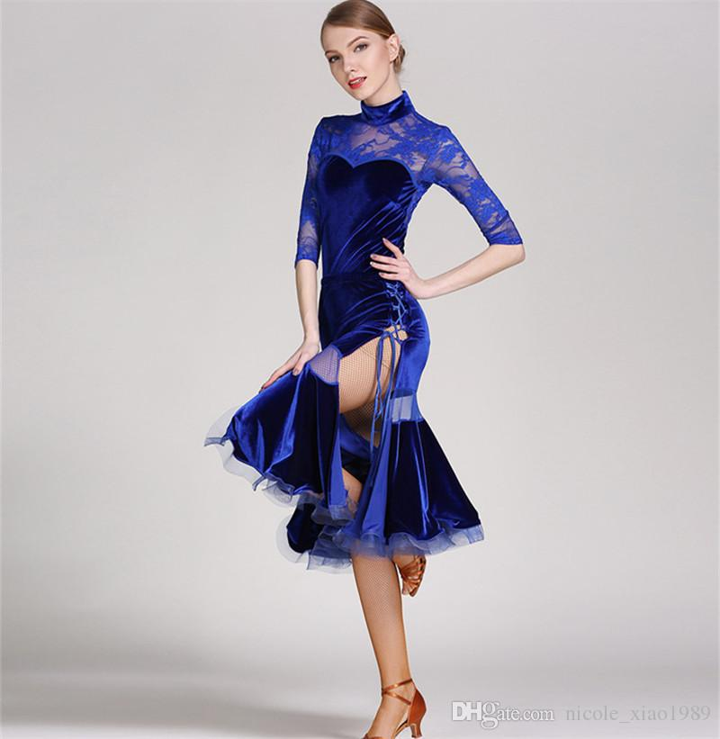 5e9f0e1d3 Blue Black Adult Girls Latin Dance Dress Salsa Tango Chacha Ballroom ...