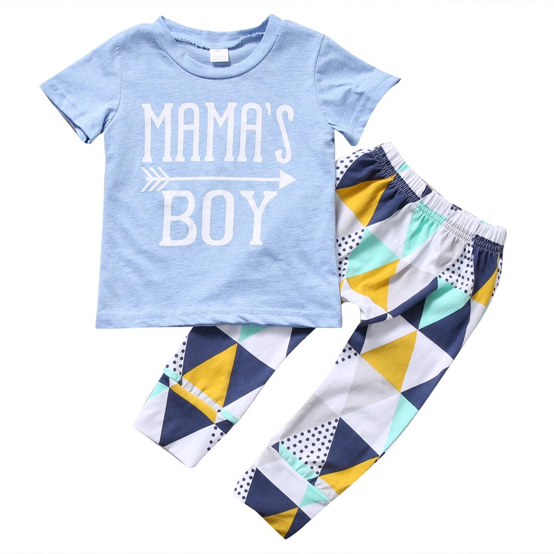 ce30979a7fb71 Summer 2018 Newborn Baby Boy Clothes Short Sleeve Cotton T-shirt Tops  Geometric Pant 2PCS Outfit Toddler Kids Clothing Set