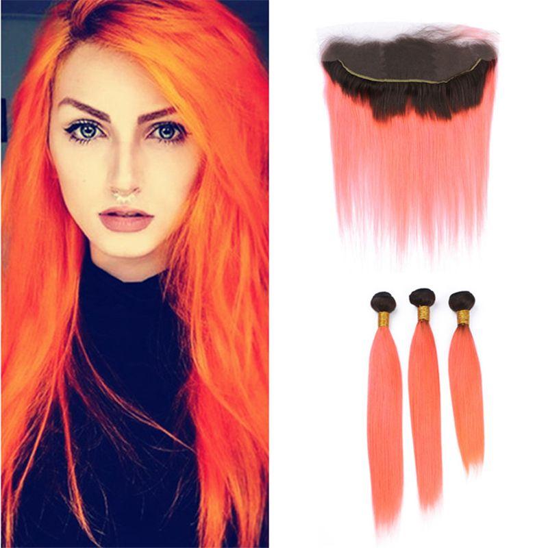 2018 light orange ombre virgin indian hair weave 3 bundles with