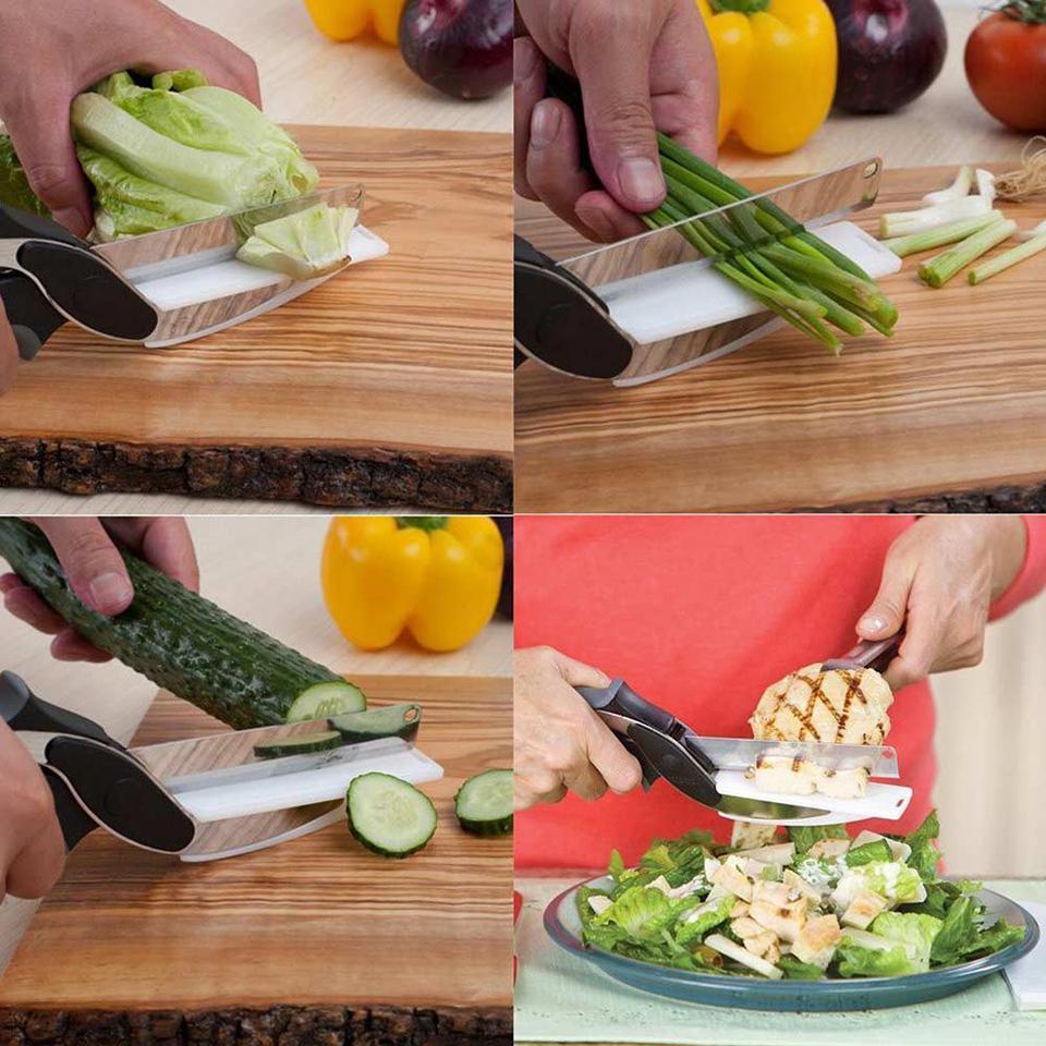 Smart Stain Stahl 2 in 1 Cutter Messerbrett Gemüse Cutter Fleisch Käse Gemüse Schere Geschenkbox Küche Zubehör
