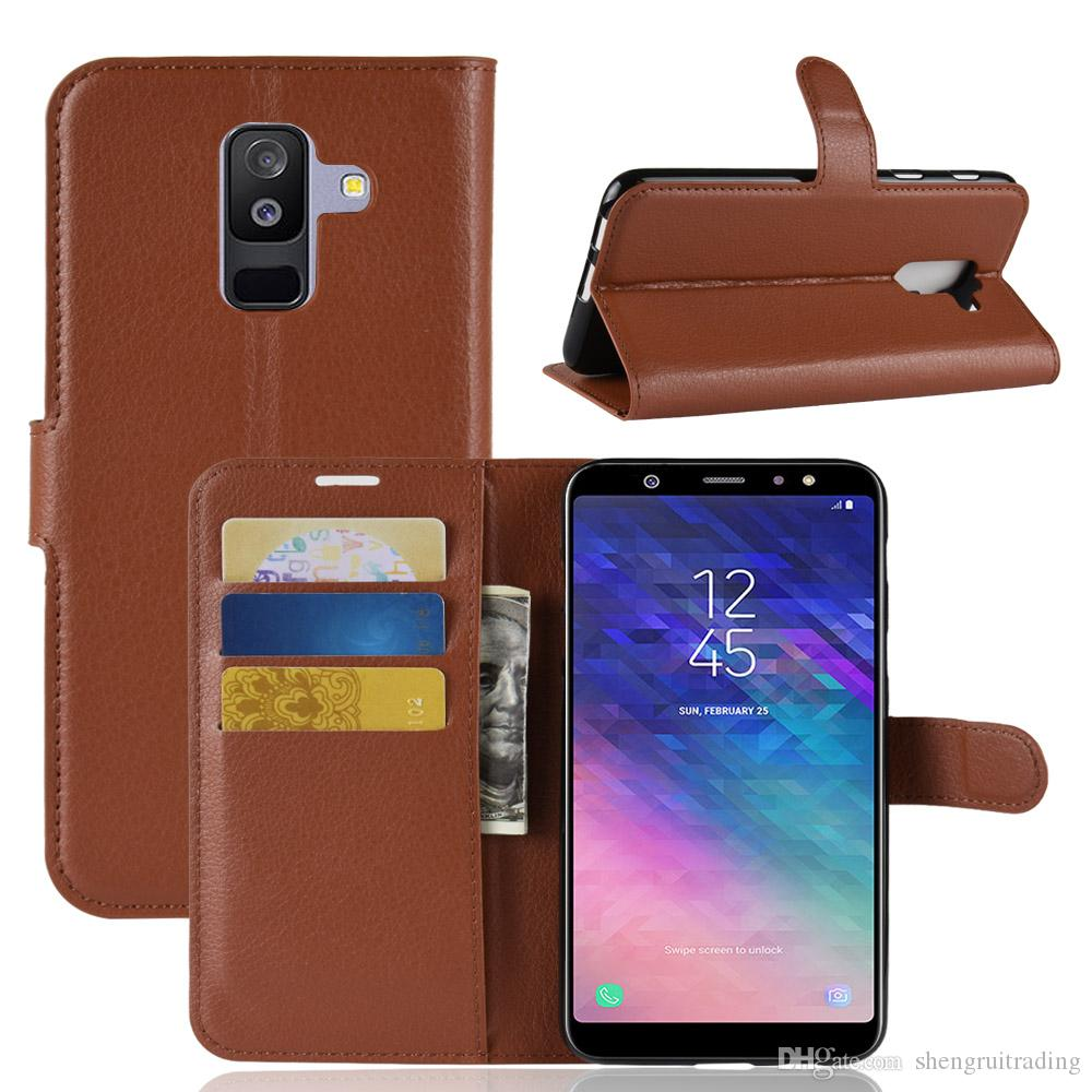 info for d47f5 5da41 Litchi Pattern Flip Magnetic PU Leather Wallet Case For Samsung Galaxy A6  Plus A6 2018 / j8 Plus J8 2018 J7 Duo Lychee grain cover