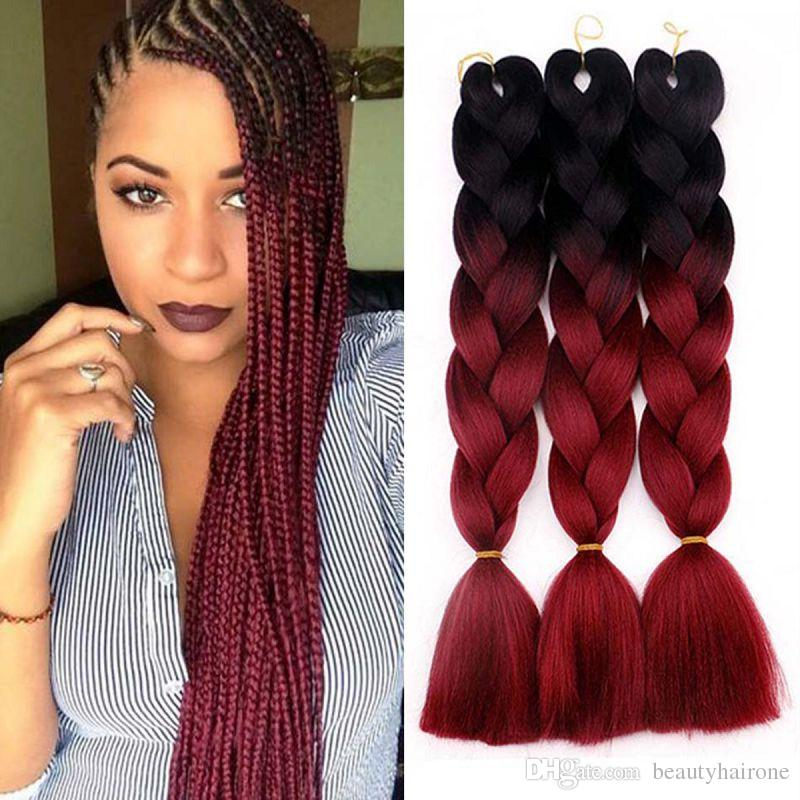 Ombre 2 Tone Jumbo Braids Synthetic Hair Extensions 24 Inches 100g Crochet  Twist Braiding Hair Colorful High Temperature Silk UK 2019 From  Beautyhairone 54c738212873