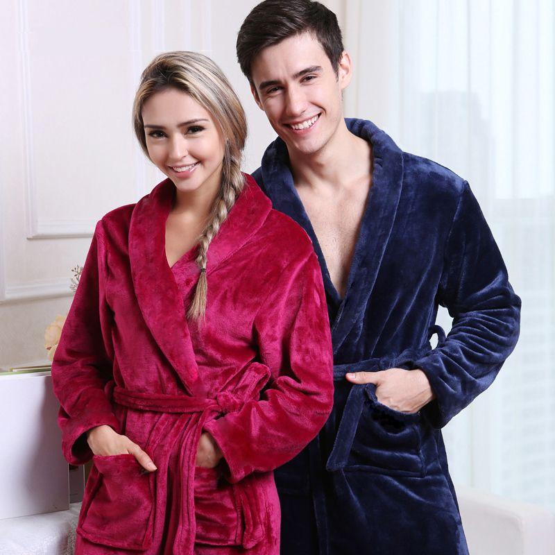 2019 On Sale Men Women Luxury Winter Bathrobe Mens Warm Silk Flannel Long  Kimono Bath Robe Male Bathrobes Lovers Night Dressing Gown C18110901 From  ... 3ca8ad866