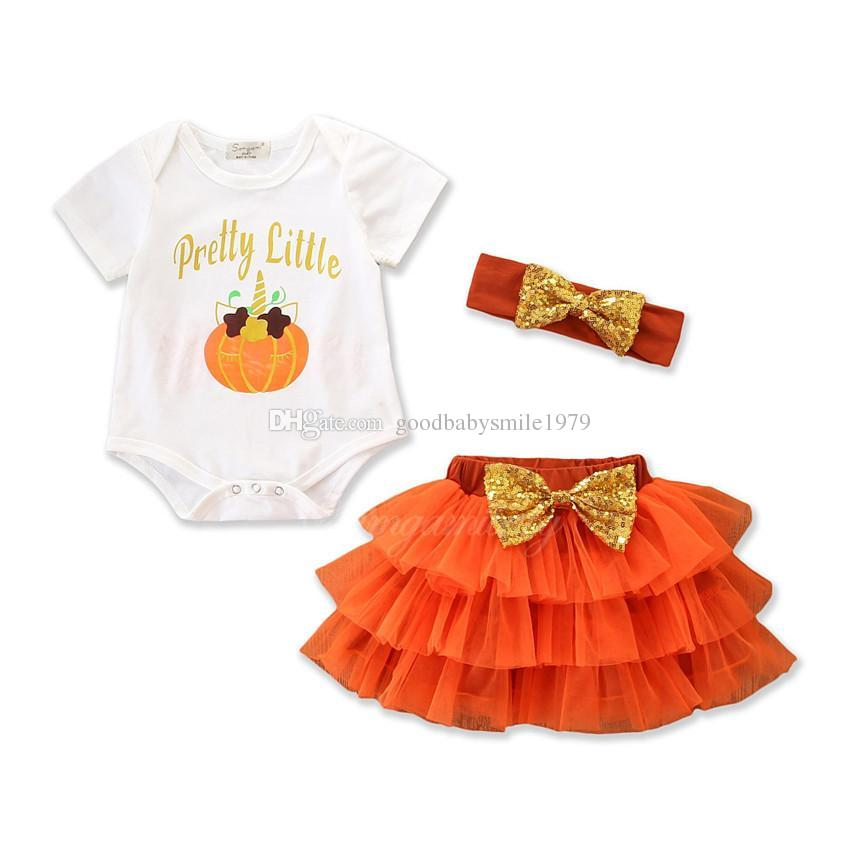 c103aca675e21 2019 2018 New Baby Holidays Clothes Outfits Pretty Little Pumpkin Printing  Christmas Suit Halloween Baby Prom Skirts Romper+Skirts+Headband Set From  ...