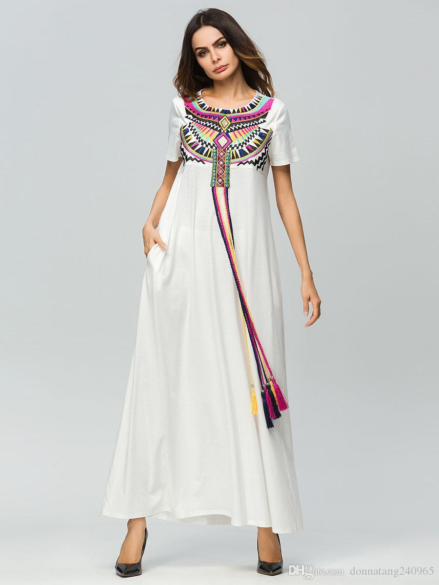 eb0f827b3cb1 Acquista Nuovo Design Casual Maxi Dress Completo Abaya Tasche Etniche  Allentato Abito Lungo Robe Vestido Kimono Musulmano Medio Oriente  Abbigliamento ...