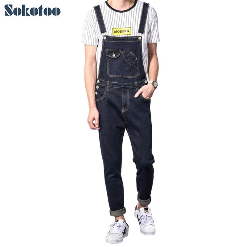 59efa9bf83a 2019 Sokotoo Men S Casual Slim Pocket Denim Bib Overalls Male Suspenders Jumpsuits  Plus Size Dark Blue Jeans For Big And Tall From Burtom