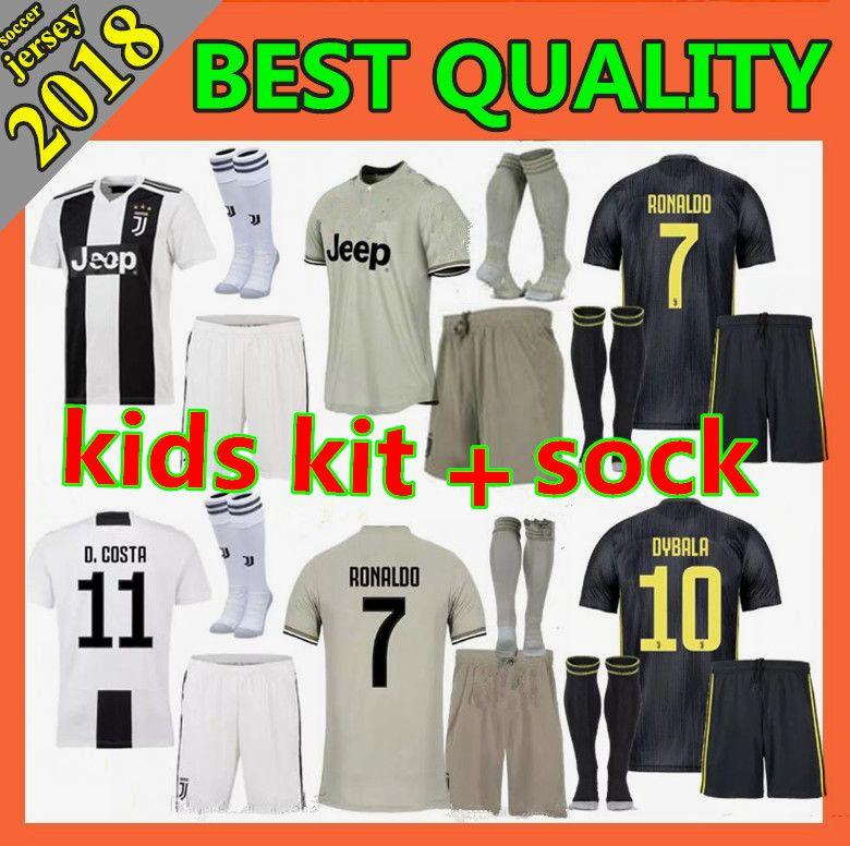 c67d594bb Kids Kit 2018 Juventus Home Soccer Jersey 2018 2019 Juve RONALDO HIGUAIN  DYBALA D. Costa MANDZUKIC BUFFON Child Football Shirt Soccer Jerseys Online  with ...