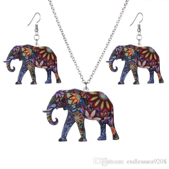 Fashion new Acrylic Enamel Elephant Jewelry Sets For Girls Animal Elephant Necklace Earring Set Women Unique Ethnic Jewelry set