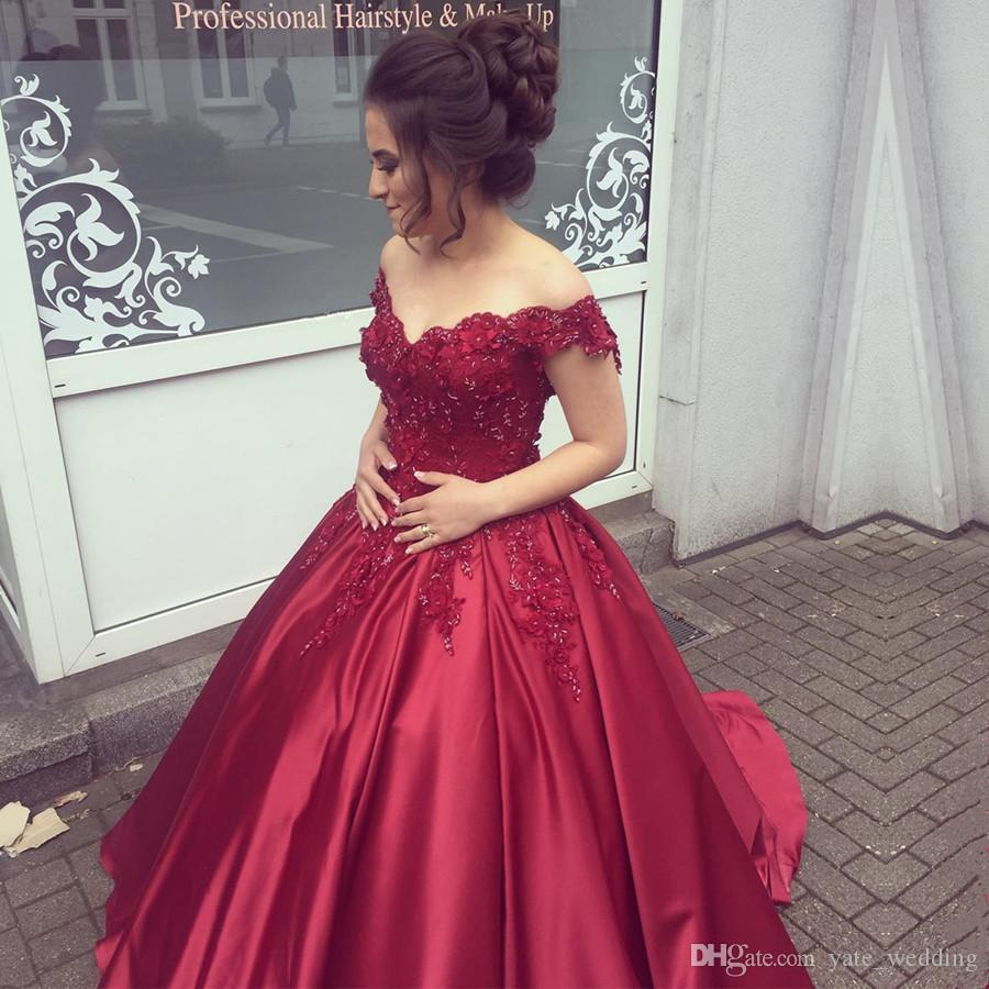 0631ef3b878b Off Shoulder Dark Navy Quinceanera Dresses Long Sleeves Ball Gown Dark Red  Prom Dresses Satin Corset Back Purple Sweet 16 Dress Cheap 15 Dresses Cheap  ...
